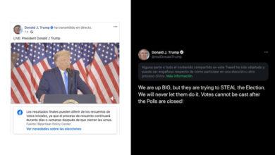 Photo of Trump se autoproclama presidente con los votos sin contar, Twitter y Facebook reaccionan para contradecirle