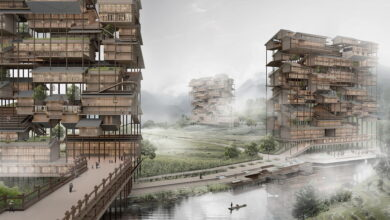 Photo of Rascacielos construidos con casas rurales móviles de madera